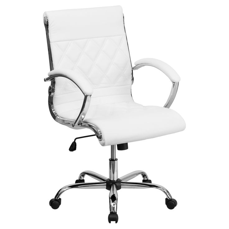 Executive Swivel Office Chair White Leather/Chrome Base - Flash Furniture