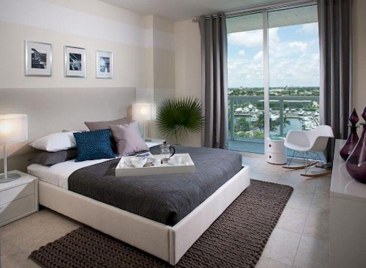 Home Design, Joyous White Fibre Glass Rocking Chair Near Glass Windows Plus  Modern Grey Bedroom Bedding Plus Brown Rug: Grey Scheme For A Classy ...