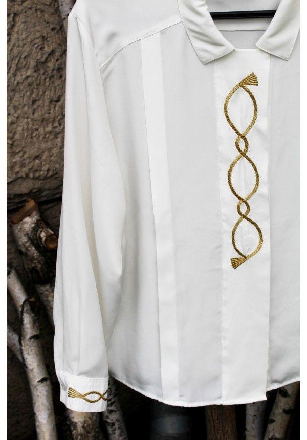 Vintage biała koszula ze złotym haftem - lata 80-te