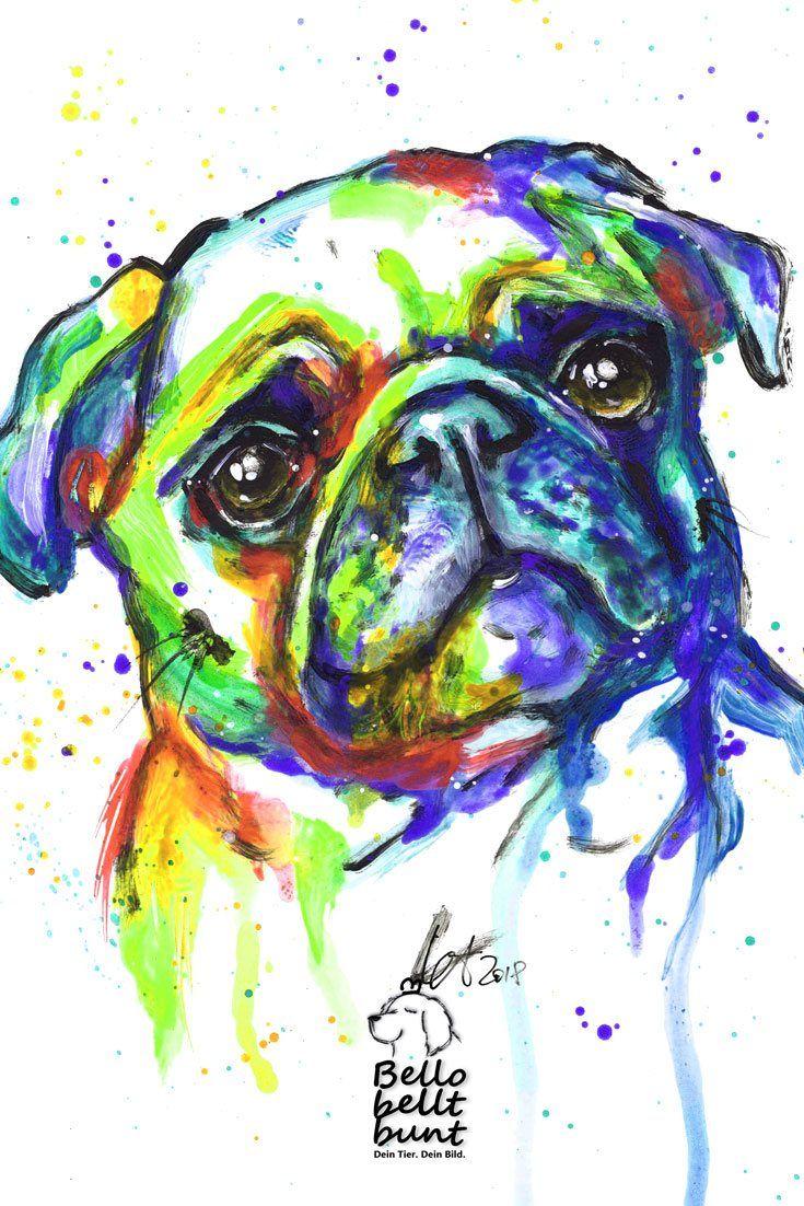 Mops Gemalt Lustig Bunt Expressiv Pug Drawing Pet Water Fountain Pets Water Fountain