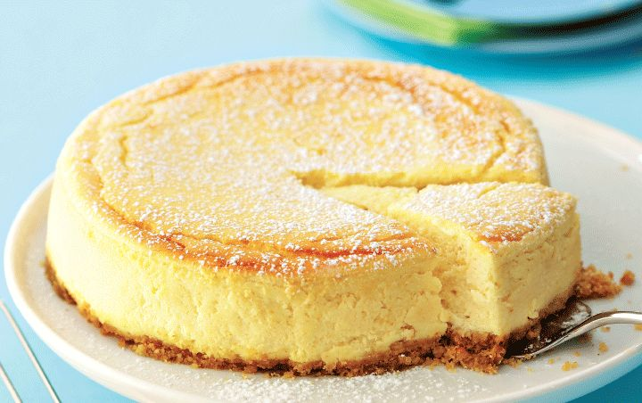 Baked cheesecake smooth and creamy.