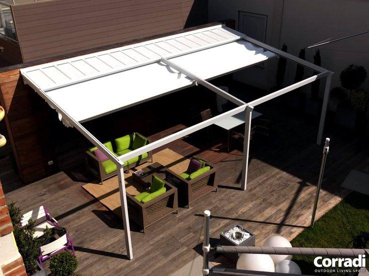 COBERTI Pergotenda Palladia detalle frontal. #pergola #pergotenda #aluminio #palladia #porche #terraza #jardín #corradi #coberti #malaga