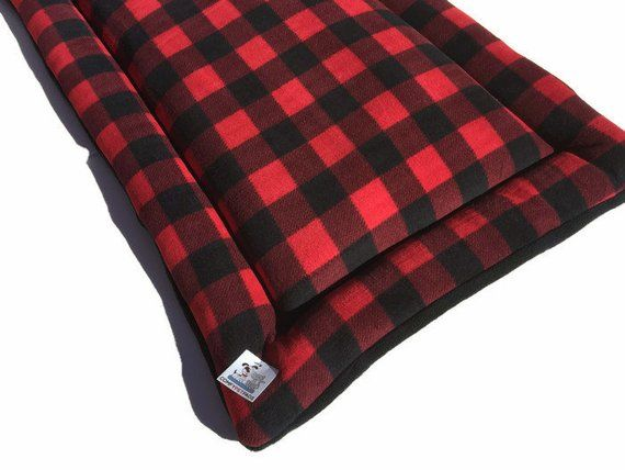 Red Plaid Buffalo Dog Bed Xl Crate Pad Kennel Mat Fits A Etsy Dog Crate Pads Dog Bed Pet Pads