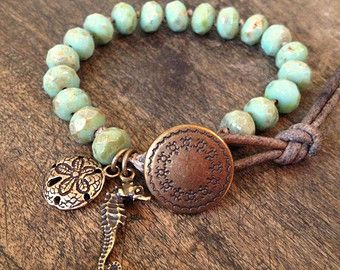 Mermaid Knotted Leather Wrap Bracelet by TwoSilverSisters on Etsy