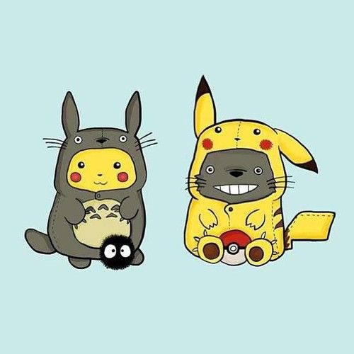 "Too cute! Pikachu and Totoro play ""dress up""!!"