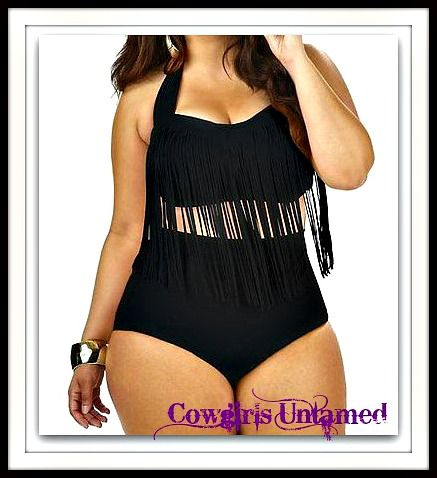 PLUS SIZE COWGIRL BIKINI Black High Waisted Fringe Plus Size Bikini #plussize #fringe #bikini #boutique #bathingsuit #swimwear #sexy #fashion #cowgirl #clothing #beautiful