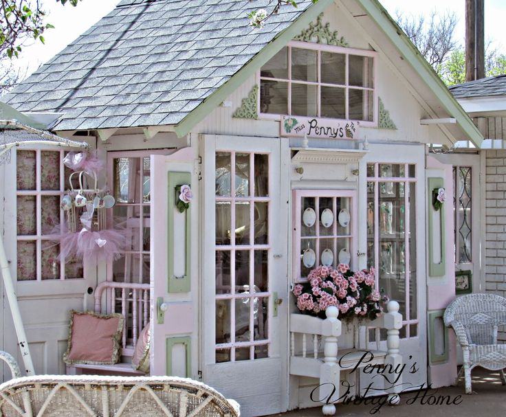 this shed is too girly for me on the inside but i do think its shabby chic officegarden cottagevintage