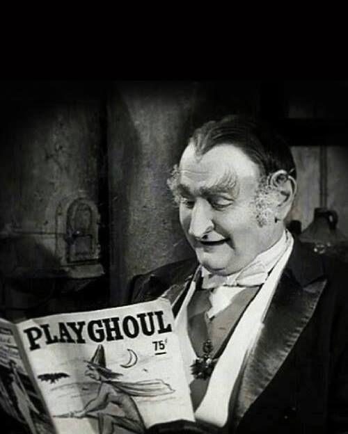 Grandpa Munster peruses the latest issue of Playghoul - The Munsters vintage retro TV Al Lewis