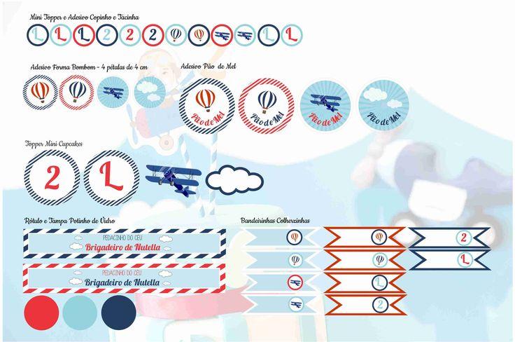 Bandeirinhas, Toppers, Tags - Tema Avião Adesivo Potinho de Doce - Tema Avião