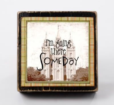 DIY self boy temple block. An inexpensive way to add a picture of the temple to your child's room.  5x5 block and print only $3.95. By Poppy Seed Projects
