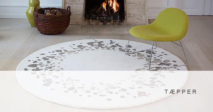 Tæpper. 8 designs, runde og firkantede, flere størrelser. http://shop.kurage.dk/accessories/taepper.html