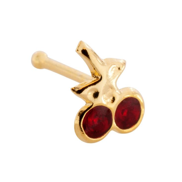 20 Gauge 14K Yellow Gold Hand Painted Cherry #2 Nose Bone Real