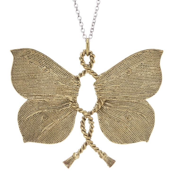 Swoony. Dazzling.   We are, in fact, smitten with this beauty. Glamorous and oversized, it is   sure to charm.Poetic Jewelryanobsess, Flutterby Brass, Butterflies Necklaces, Butterflies Pendants, Wax Poetic, Ropes Flutterby, Flutterby Pendants, Brass Pendants, Bridesmaid Gift
