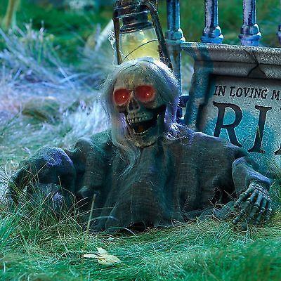 Grave Ground Breaker Skull with Hair Halloween Prop