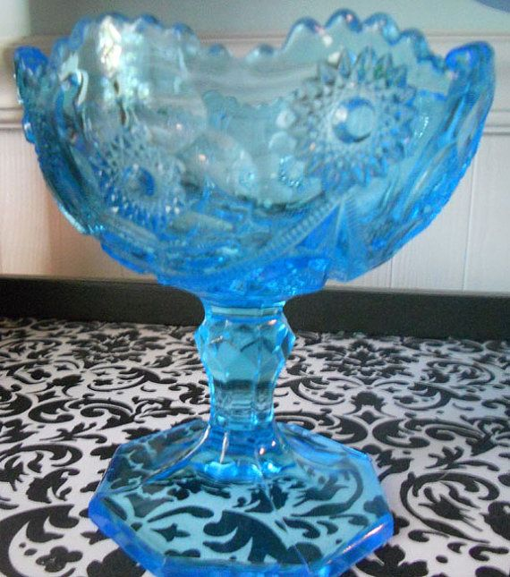 Vintage Blue Depression Glass Compote/Candy Dish with Star ...