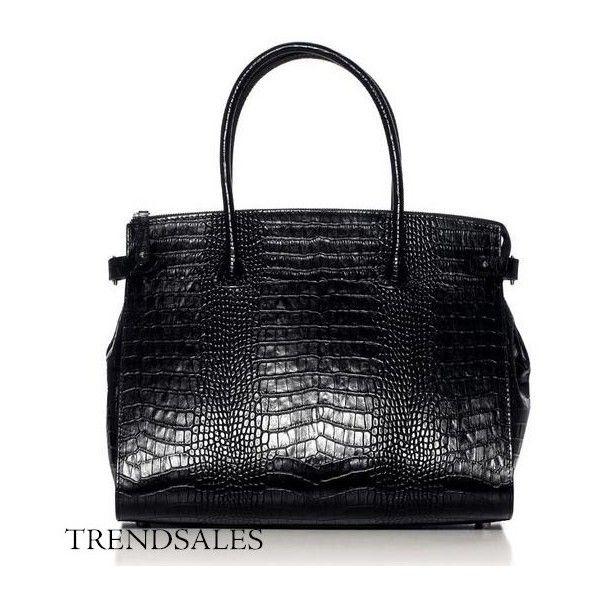 Decadent bag - black croco ❤ liked on Polyvore