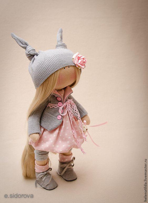 Купить Сьюзи - серый, розовы, кукла, текстильная кукла, пупс, текстильная игрушка, коллекционная кукла