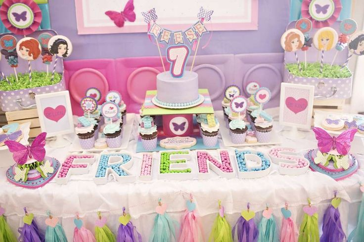 Hearts Stars and Butterflies Lego Friends 7th Birthday | CatchMyParty.com