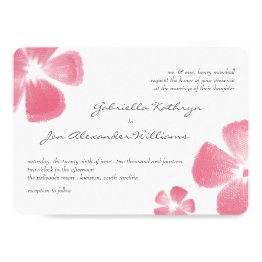 Pink Tropical Watercolor Flowers Wedding Invites #wedding #invitations