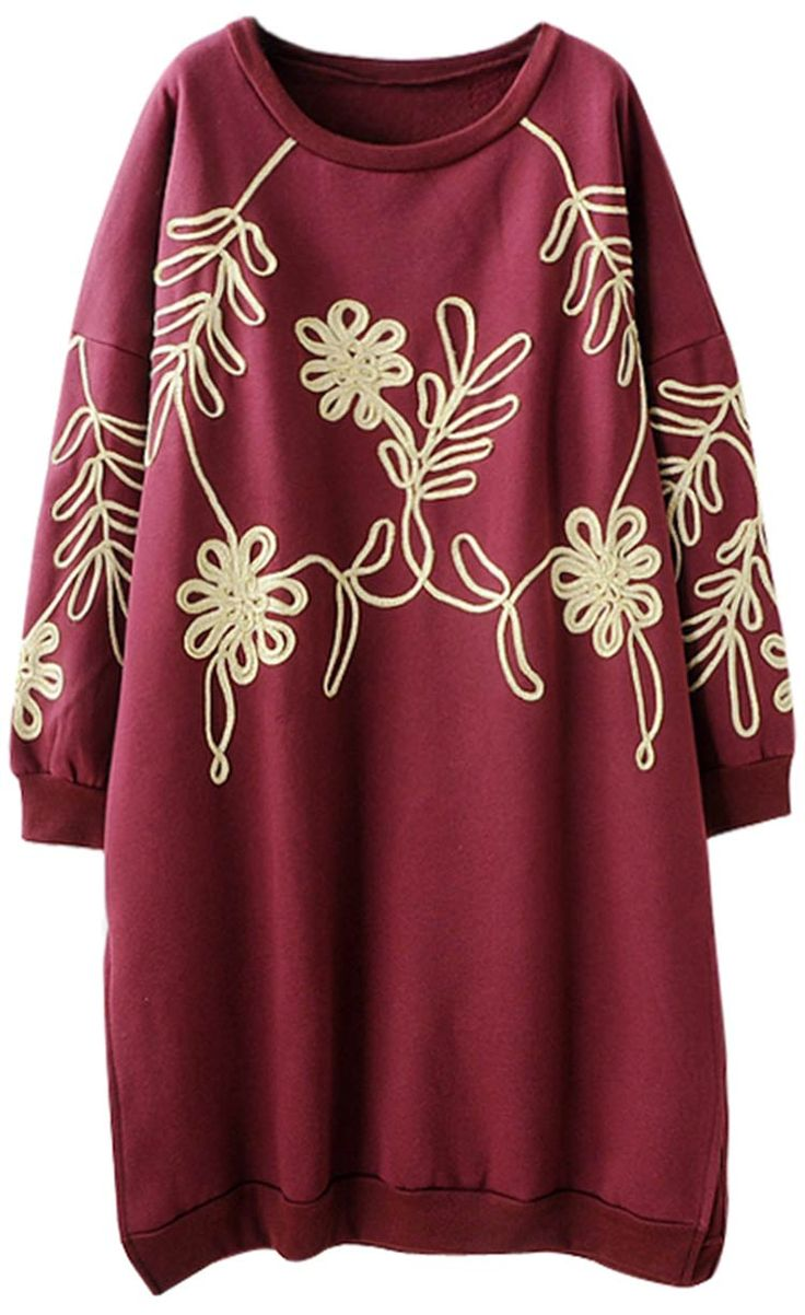 Burgundy sweatshirt dress to get with free shipping&easy return at Cupshe.com Only! This floral dress is detailed with cute loose fit&gonna warm you up all these fall cold days! Go picnic Now!