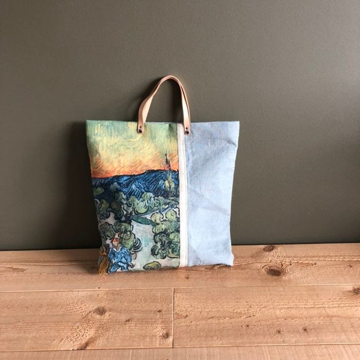 Art print painting tote bag grey canvas linen tote bag