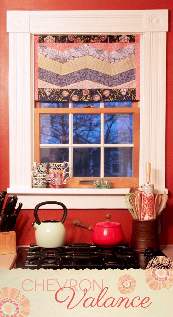 ~ tutorial ~ pieced chevron window valance by Maureen Cracknell for Art Gallery Fabrics