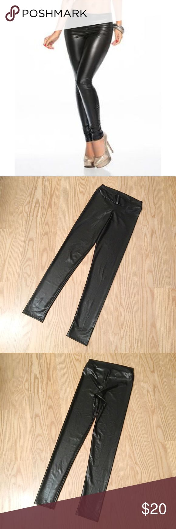 "NWOT AM PM ESPIRAL Wetlook leggings NWOT AM PM BY ESPIRAL black wetlook leggings | size S | inseam is 29"" espiral Pants Leggings"