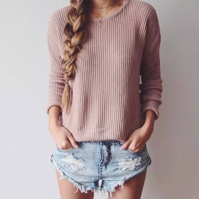 Loose round neck solid color knit sweater