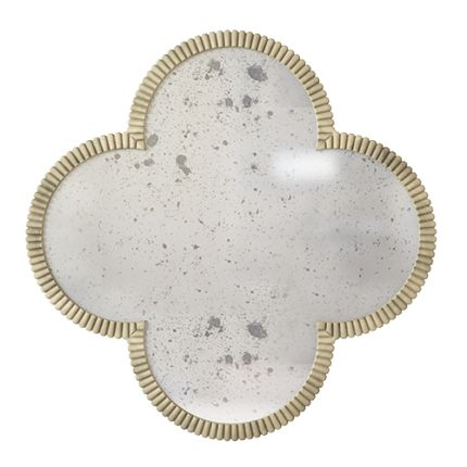 The charming quatrefoil form is what makes this finely crafted mirror so charming, original and unique. This mirror is collectable jewellery-inspired, taking its shape from jewels found in private collections. Lovingly rendered from the finest materials, hand-crafted by our exceptionally skilled artisans, this item is like a scaled-up jewel for your interior. #quatrefoil #handmade #interiors #highend #luxury #design #jewel #gothic #glold #brass #mirror #antiquemirror #gothic #clover #M...