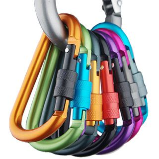 5PCS Safety Buckle Aluminum Carabiner Key Chain Quick Release Lock Multi Colors For Camping Hiking