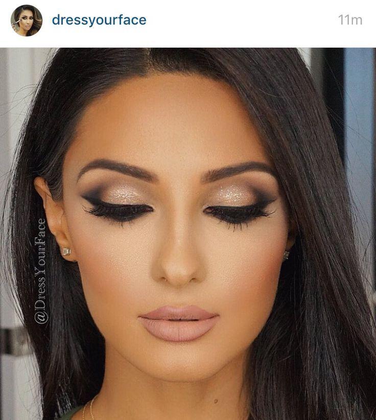 Glitter smokey eye, lashes, peach matte lip, glam skin