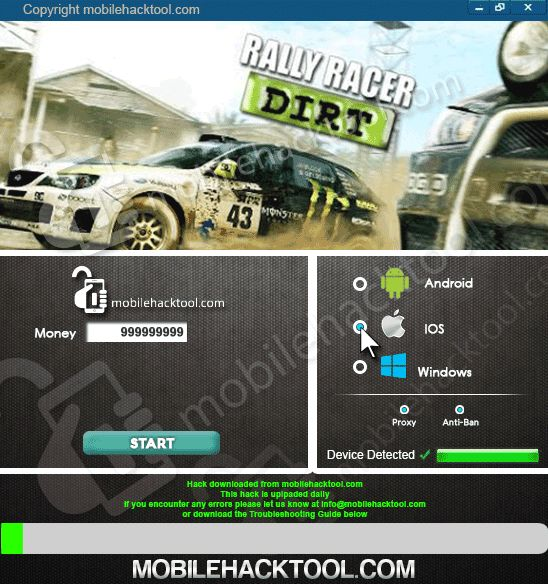Rally Racer Dirt Hack Cheats 2018 Download. Hi there, we are pleased to current you most recent Sofware .Rally Racer DirtHack Cheats has been created for you, to help your daily dwelling and that you can derive further enjoyment from the game, and at the equivalent time do not squander your income. This will allow you very easily get Money. Procedure suitable