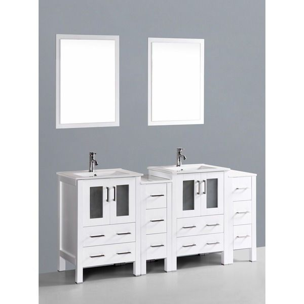 Bosconi AB224U2S 72-inch Double Vanity with Mirrors and Faucets