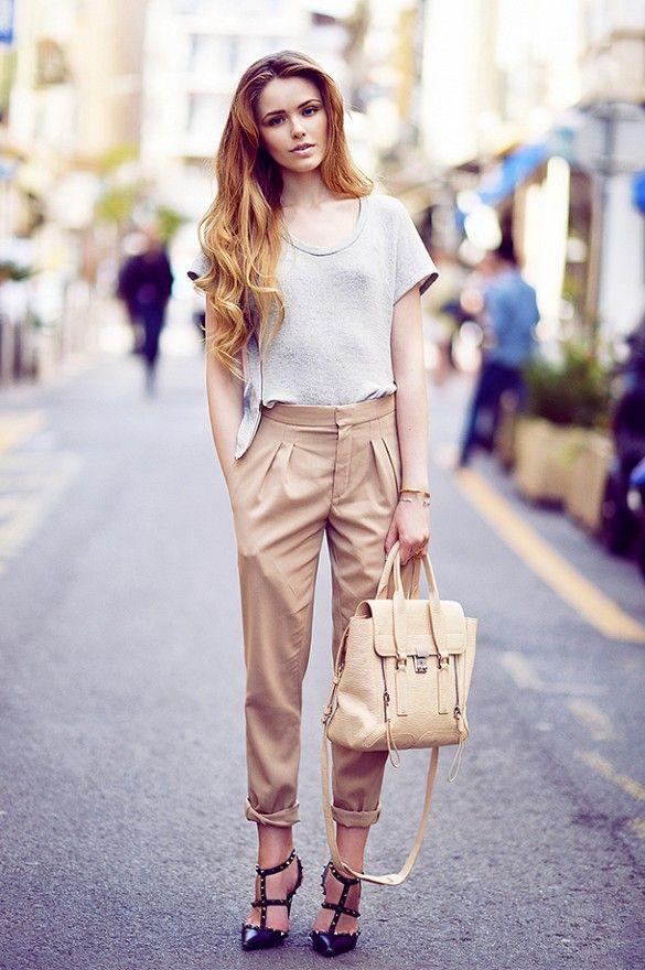 street style:   Kayture: Nations tee; Chloe trousers; Valentino Rockstud Leather Slingback Sandals ($1075) in Black; 3.1 Phillip Lim Pashli Medium Satchel ($740); Chopard watch; Vita Fede Mini Titain Crystal Bracelet ($375).