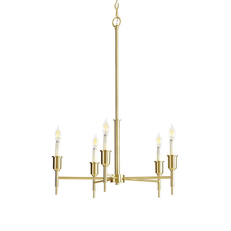 Globe Electric Elena 5 Light Brushed Brass Chandelier, 65611
