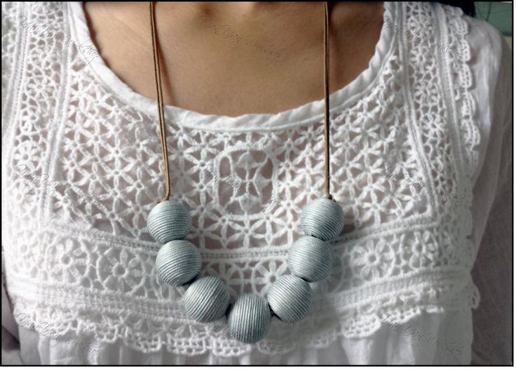 Trendy Invigorating Beige / Light Blue / Brown Thread Balls Necklace Length Adjustable by YanYanWorkshop on Etsy