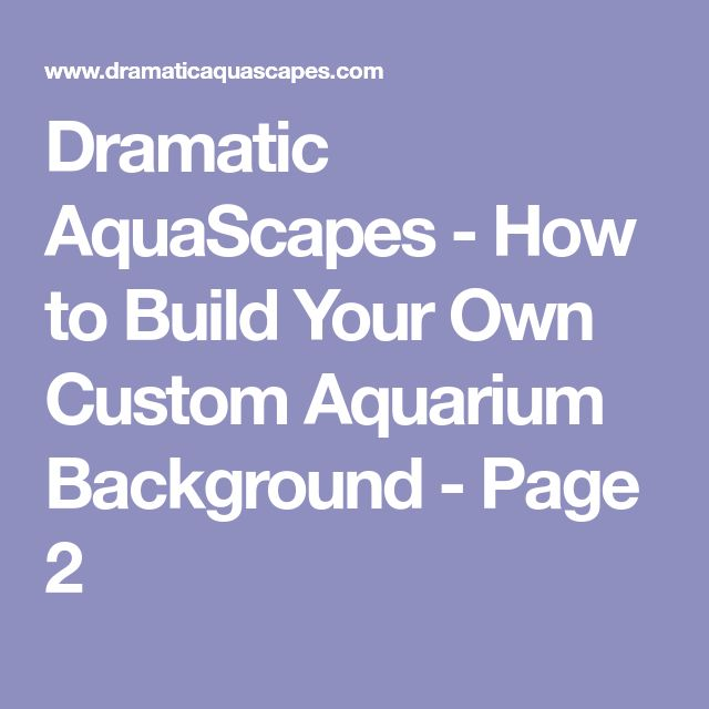 Dramatic AquaScapes - How to Build Your Own Custom Aquarium Background - Page 2