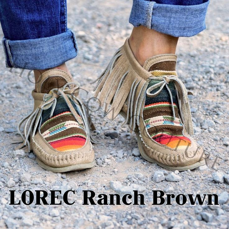 Lindsay: REALLY LOVE!!!!  Lorec Ranch Serape size 9 Moccasins. Size 9 in brown.