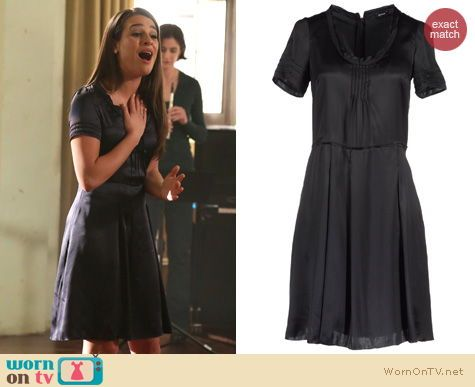 Rachel's black short sleeve dress on Glee. Outfit Details: http://wornontv.net/15814/ #Glee