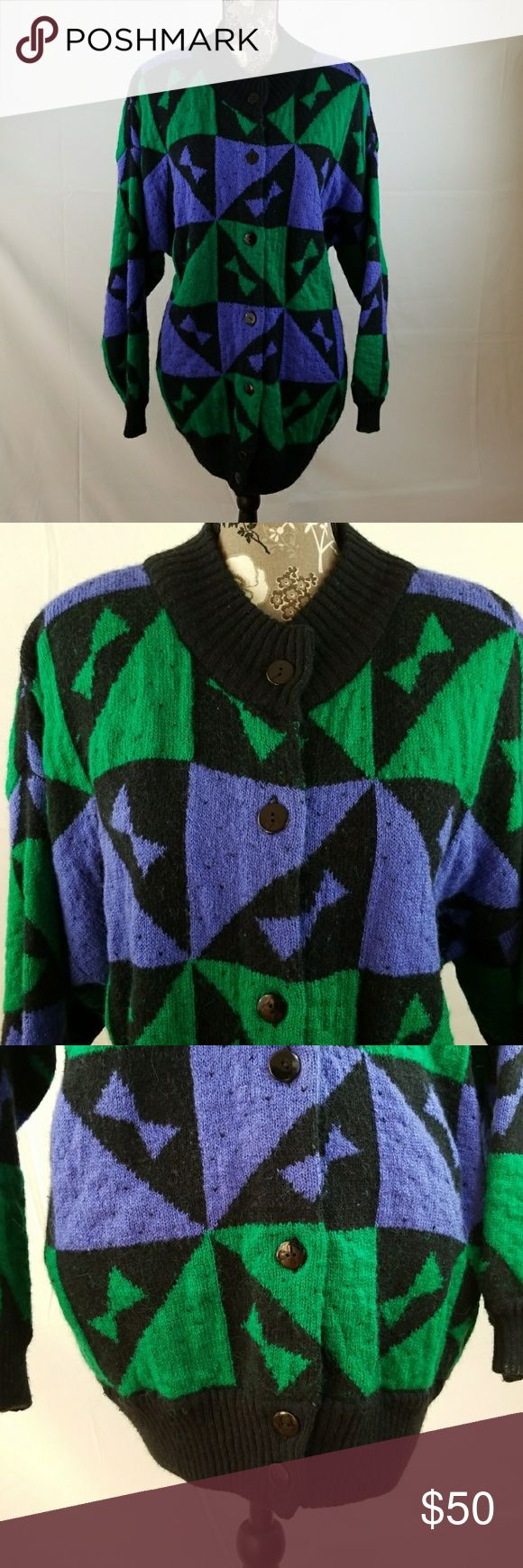 Vintage LILLY  of CALIFORNIA sweater coat LILLY of CALIFORNIA sweater coat from the late 1970's. Perfect condition. Was my mother's. Gorgeous black with purple & green design's. 24 1/2 arm pit to arm pit, sleeve 18 1/4, length 30in. LILLY of CALIFORNIA Sweaters Cardigans