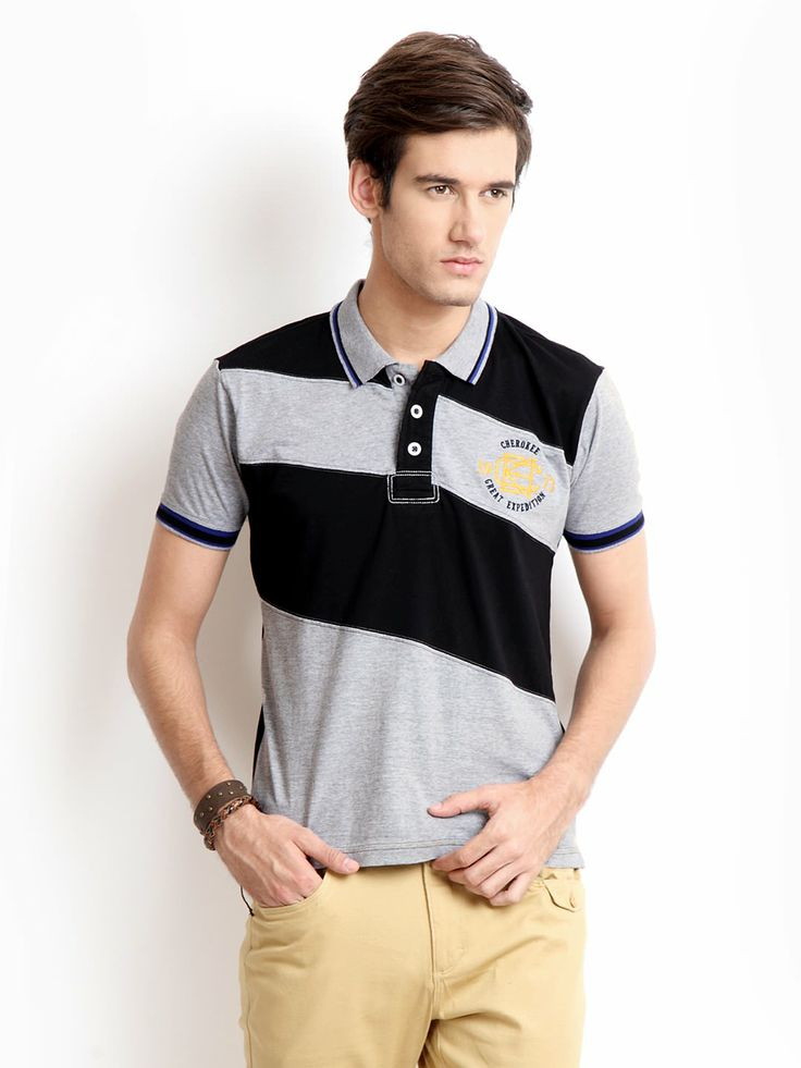 Cherokee Men Black & Grey Polo T-shirt | POLO | Pinterest
