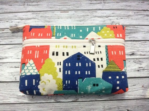 large pouch with 6 card slot colorful house by KatunKatunBags