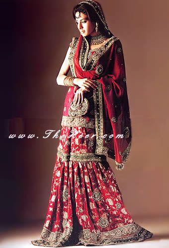 BW8823 Red Banarsi Jamawar Gharara Red Ritzy Gharara, Blouse and Dupatta. Pakistani/Indian Designer Dresses Bridal Wear