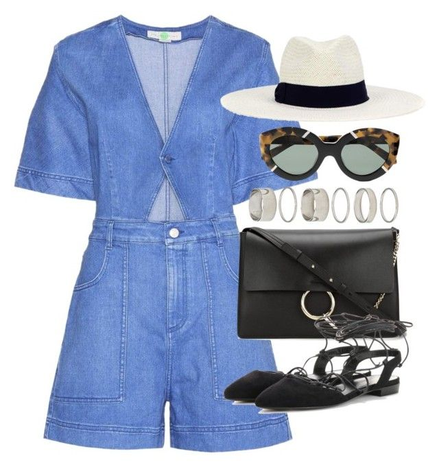 """""""Outfit with a denim playsuit for summer"""" by ferned on Polyvore featuring STELLA McCARTNEY, Hat Attack, Forever 21, Karen Walker, Chloé and Yves Saint Laurent"""