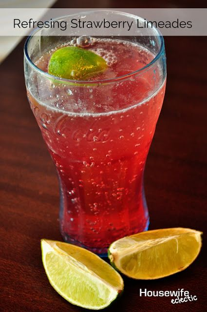 Refreshing and Amazing Strawberry Limeades:  One can diet or regular lemon lime soda, cold 1/2 a lime 2 teaspoons strawberry flavoring
