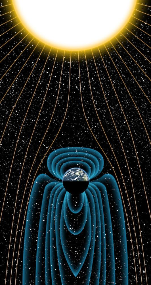 Earth's magnetic field, which protects the planet from harmful blasts of solar radiation, is much older than scientists had previously thought. This invisible, protective shield likely existed shortly after the planet formed; a finding that could shed light on why Earth is habitable and Mars is not. Earth's magnetic field helped make life on the planet possible. Without our magnetic field, solar winds would strip away the planet's atmosphere and oceans.