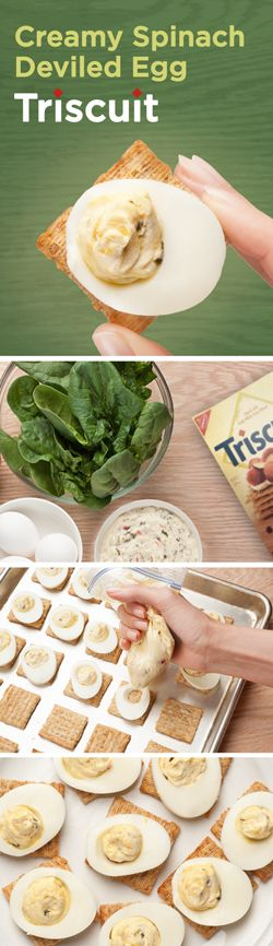 Try this delicious spin on the classic deviled eggs at your Easter celebration this year! Cut each egg crosswise into 9 slices & carefully remove yolk from each slice, placing them in a medium bowl. Add spinach dip, mix well, & spoon into a resealable plastic bag. Refrigerate 1hr or until chilled. Top TRISCUIT crackers with egg white slices, then cut small piece off one bottom corner of bag to pipe yolk mixture onto centers of egg whites on the crackers. Guests are sure to ask for the…