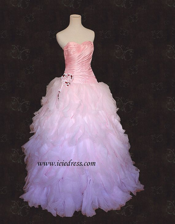 CM2011 Strapless Pink Feathery Tulle Ball Gown Formal Prom Dress Size 2 on Etsy, $159.99