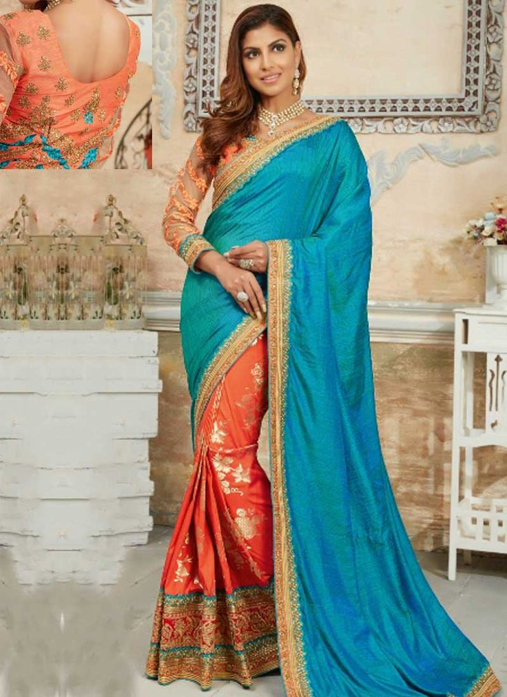Sky Blue Orange Embroidery Work Silk Fancy Designer Wedding Half Sarees. Buy online shopping sarees at - Chennai.