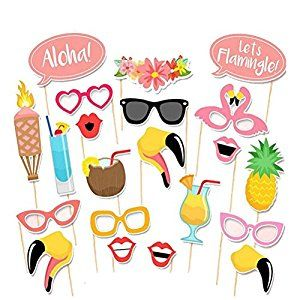 Jansroad Hawaii Themed Summer Party Photo Booth Props Kit- DIY Luau Party Supplies for Holiday,Wedding,Kids Birthdays,Beach parties,Summer Festivals,Pool parties ,Pack of 21: Amazon.co.uk: Toys & Games